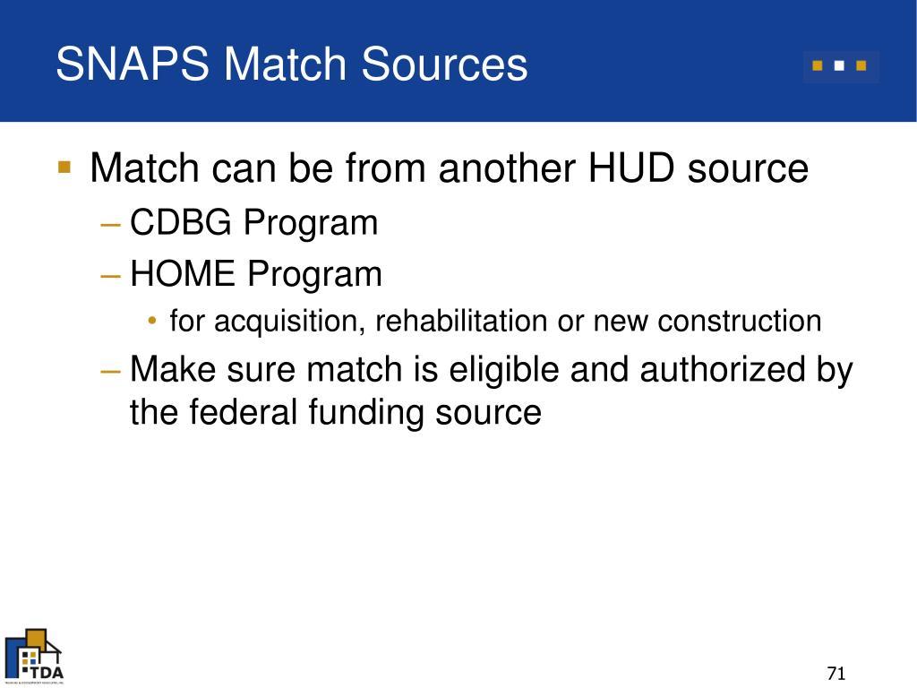 SNAPS Match Sources