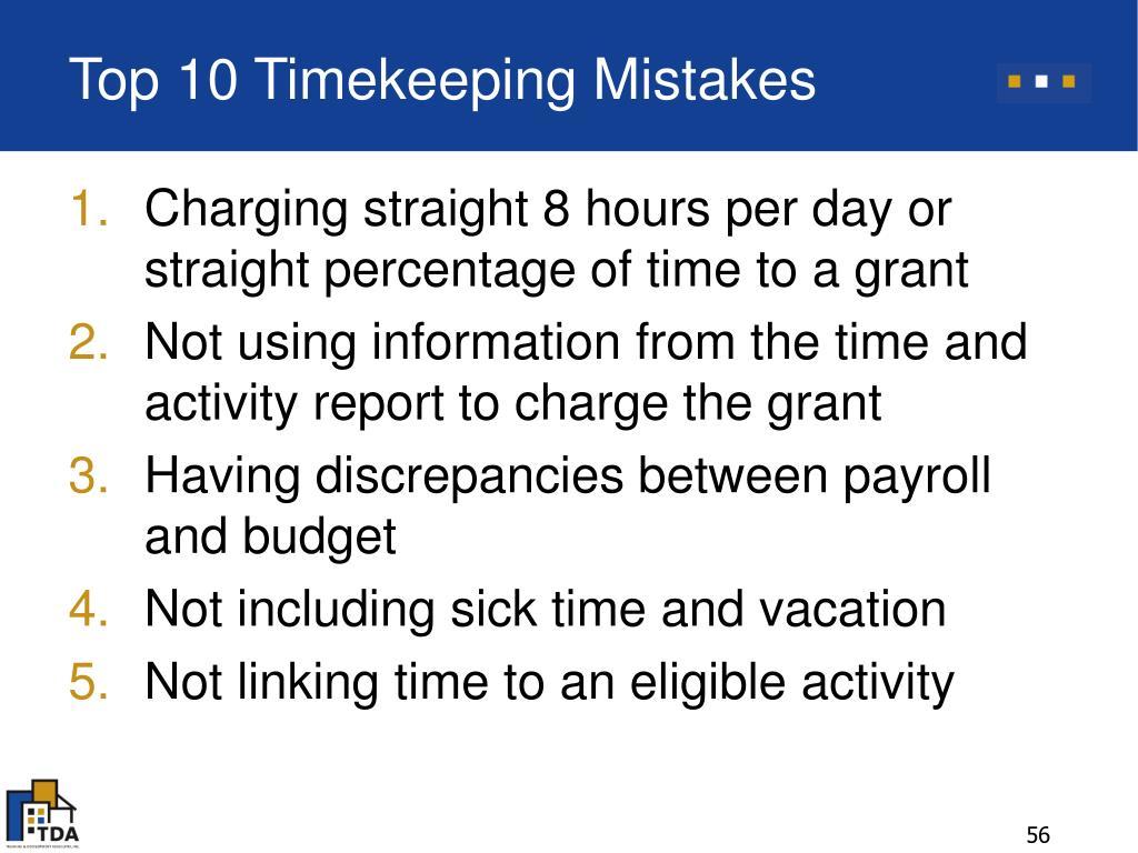 Top 10 Timekeeping Mistakes
