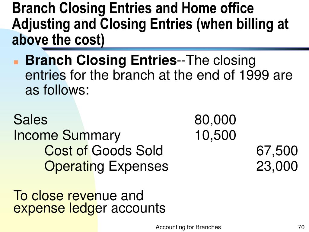 Branch Closing Entries and Home office Adjusting and Closing Entries (when billing at above the cost)