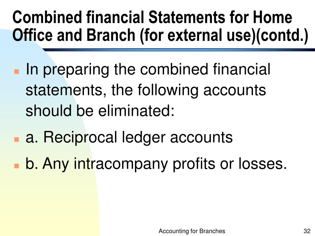 Combined financial Statements for Home Office and Branch (for external use)(contd.)