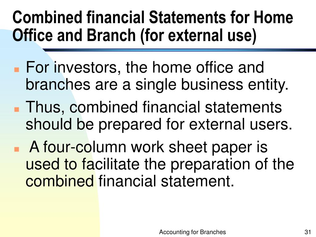 Combined financial Statements for Home Office and Branch (for external use)