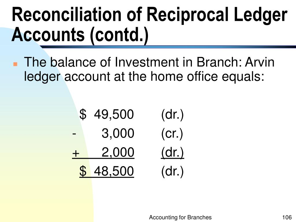 Reconciliation of Reciprocal Ledger Accounts (contd.)