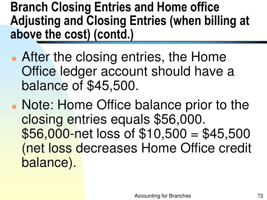 Branch Closing Entries and Home office Adjusting and Closing Entries (when billing at above the cost) (contd.)