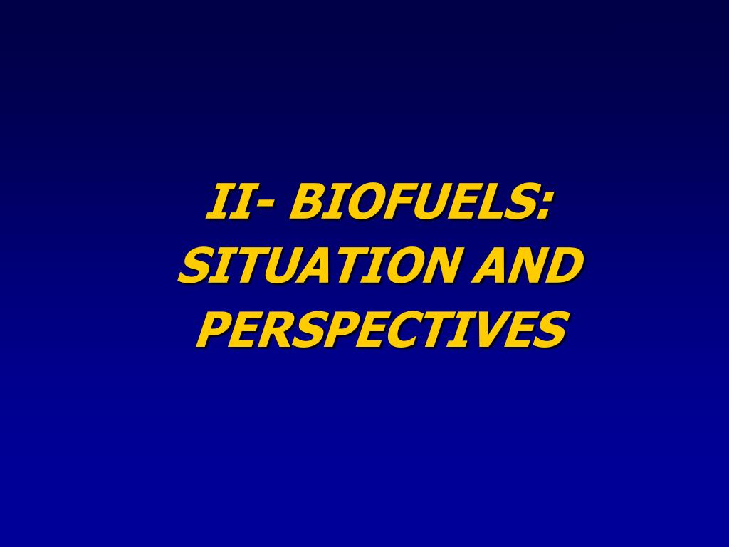 II- BIOFUELS: SITUATION AND PERSPECTIVES