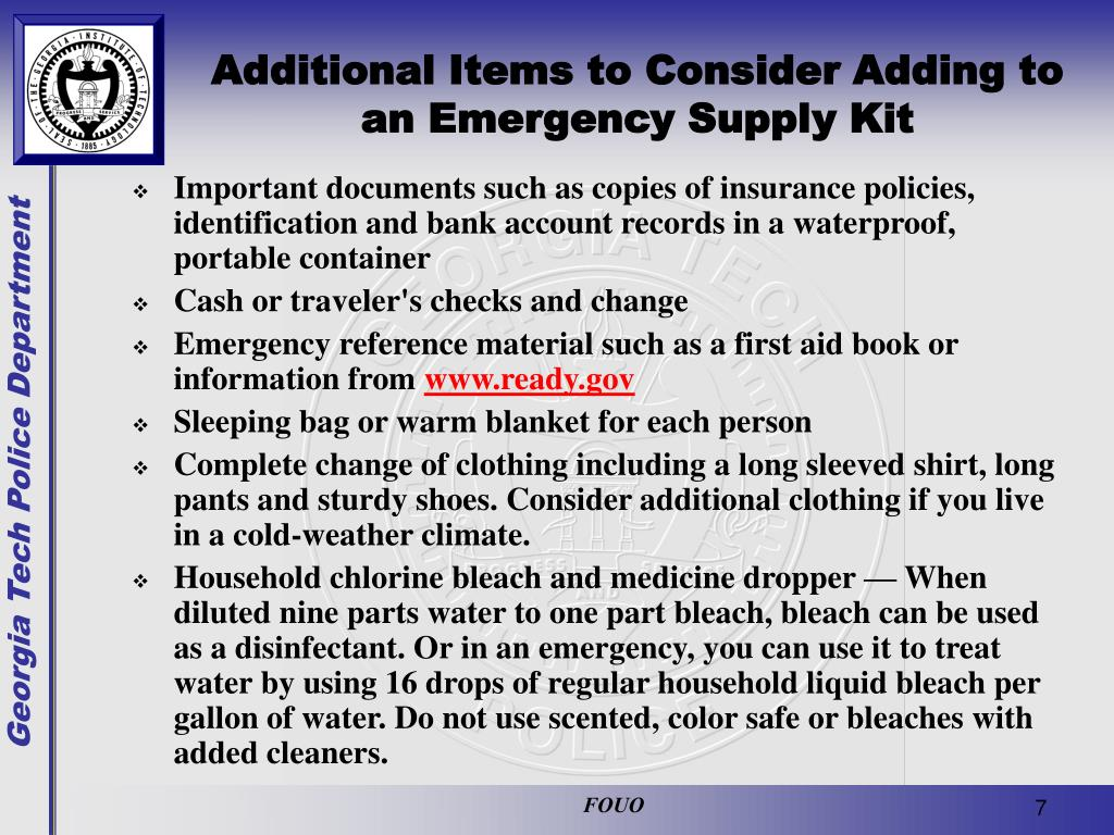 Additional Items to Consider Adding to an Emergency Supply Kit