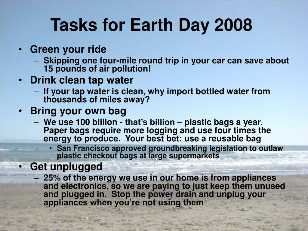 Tasks for Earth Day 2008