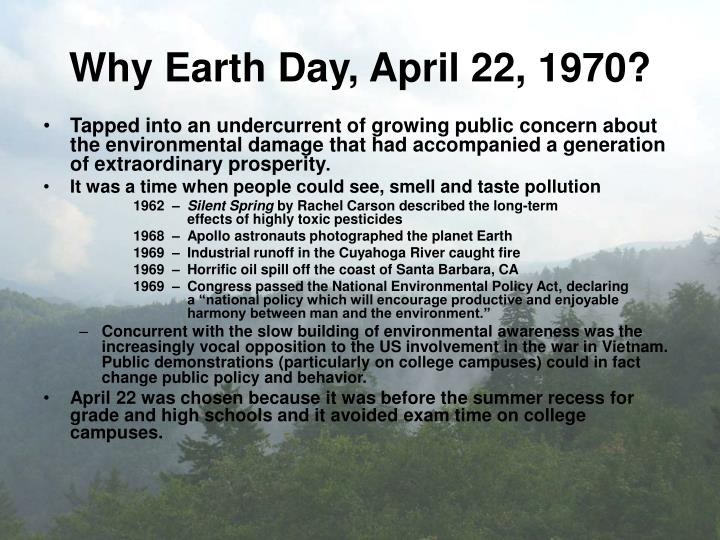 Why earth day april 22 1970