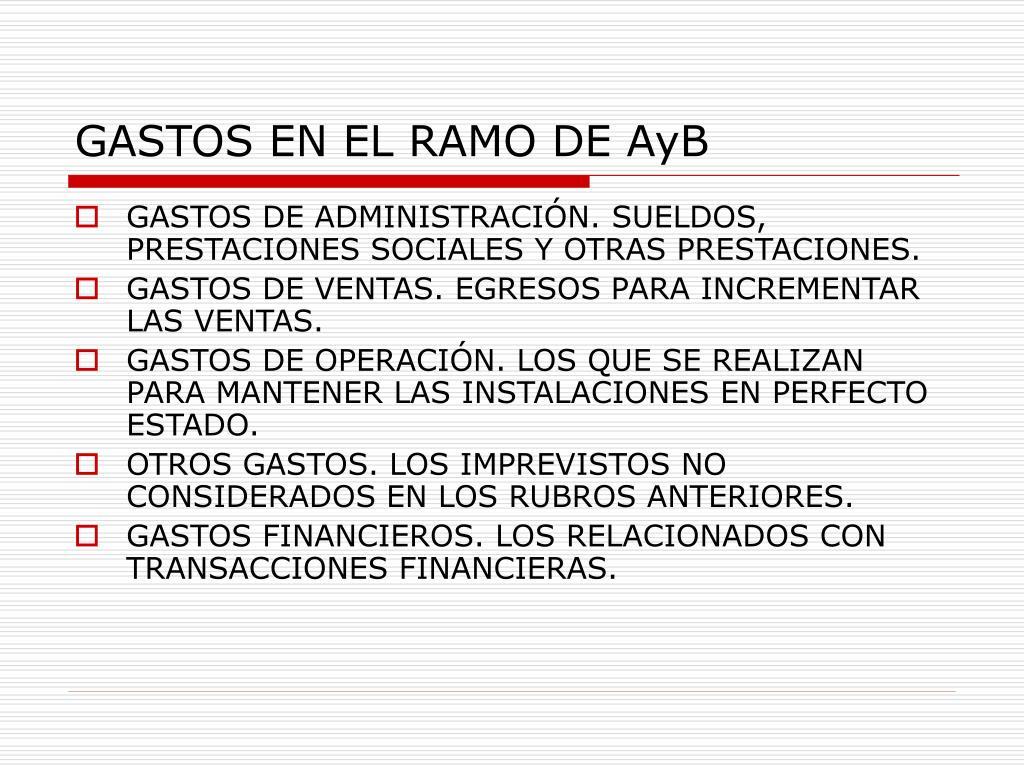 GASTOS EN EL RAMO DE AyB