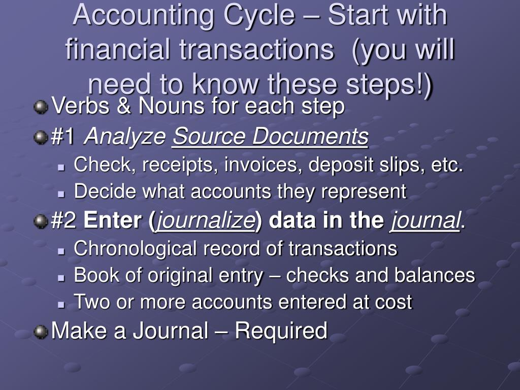 Accounting Cycle – Start with financial transactions  (you will need to know these steps!)