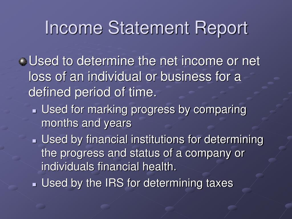 Income Statement Report