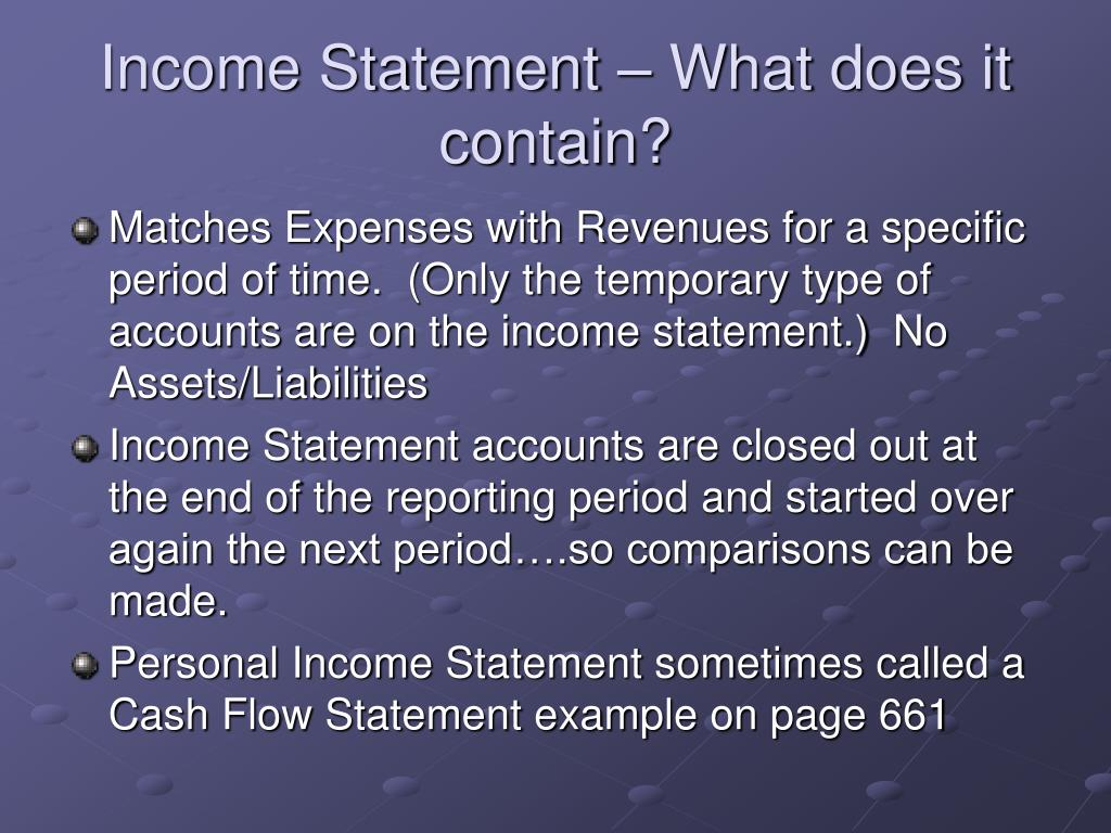 Income Statement – What does it contain?