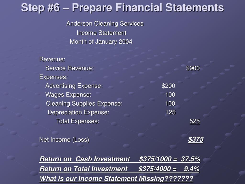 Step #6 – Prepare Financial Statements