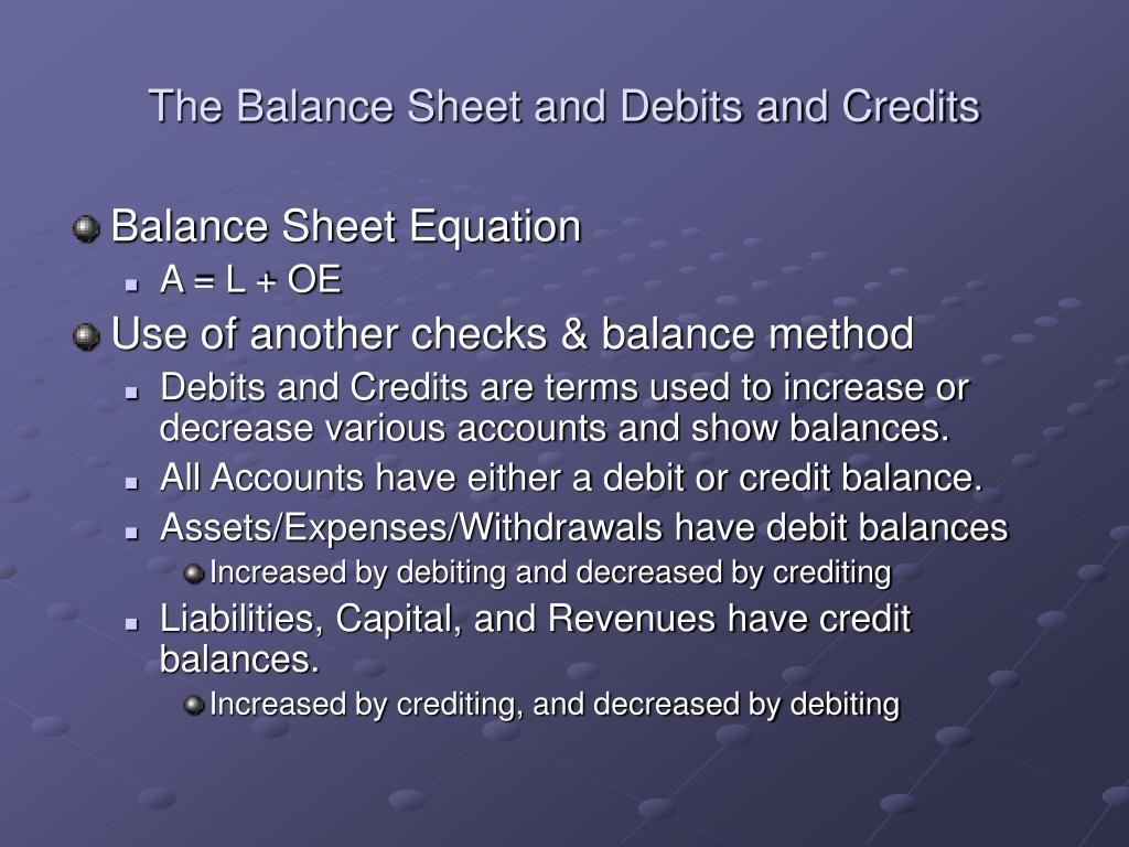The Balance Sheet and Debits and Credits
