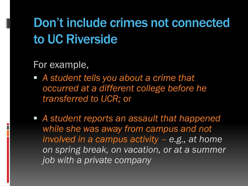 Don't include crimes not connected to UC Riverside