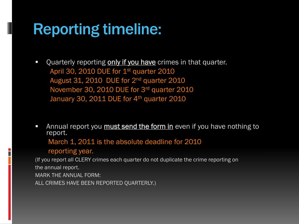 Reporting timeline: