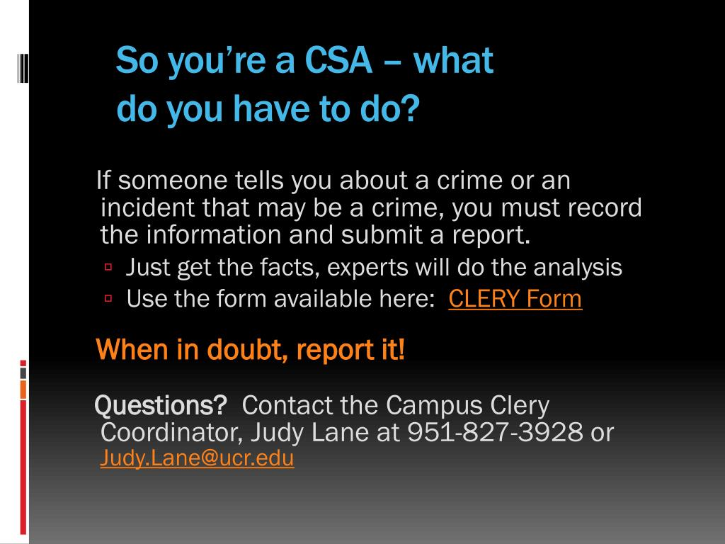 So you're a CSA – what