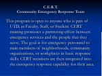 c e r t community emergency response team
