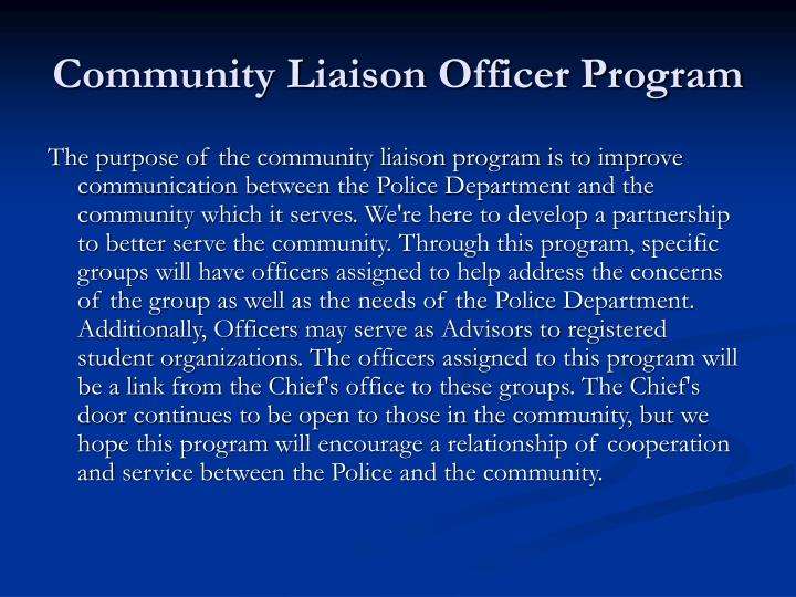 Community Liaison Officer Program