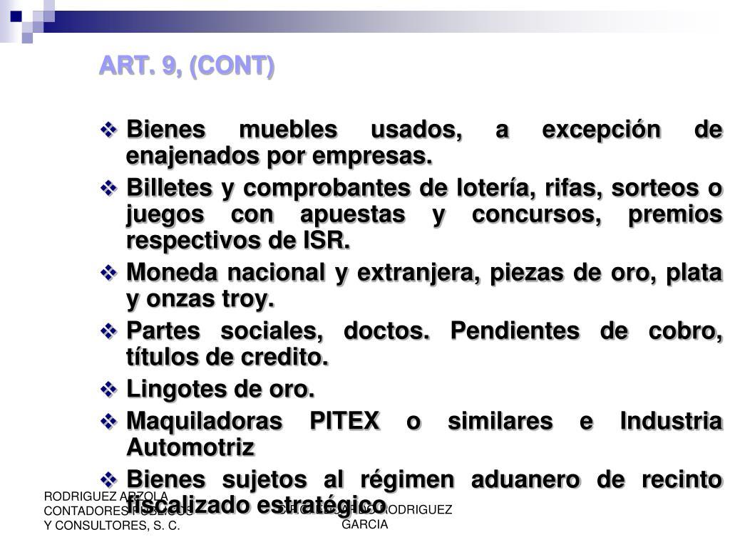 ART. 9, (CONT)