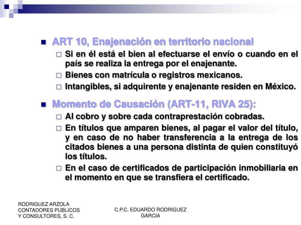 ART 10, Enajenación en territorio nacional