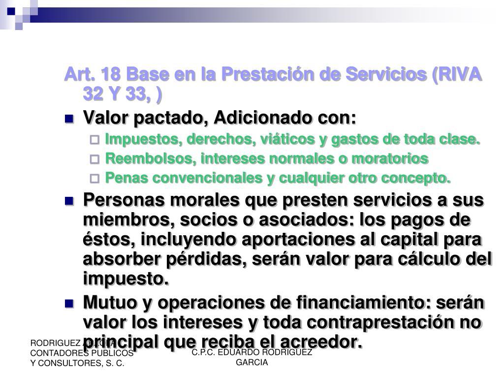 Art. 18 Base en la Prestación de Servicios