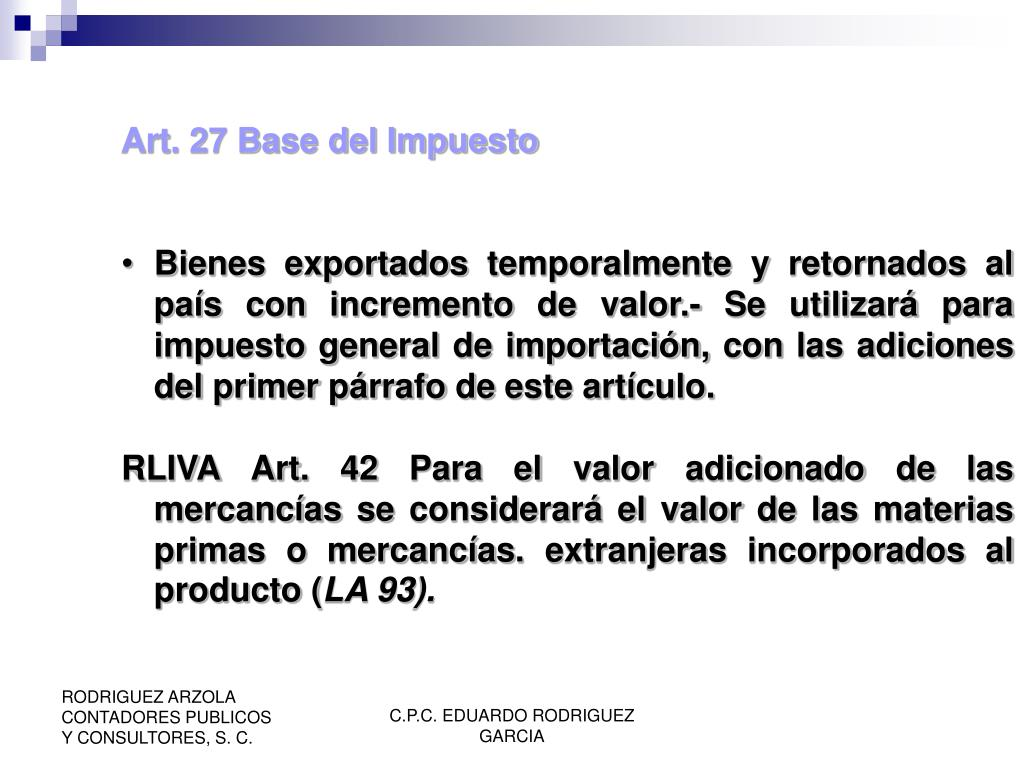 Art. 27 Base del Impuesto