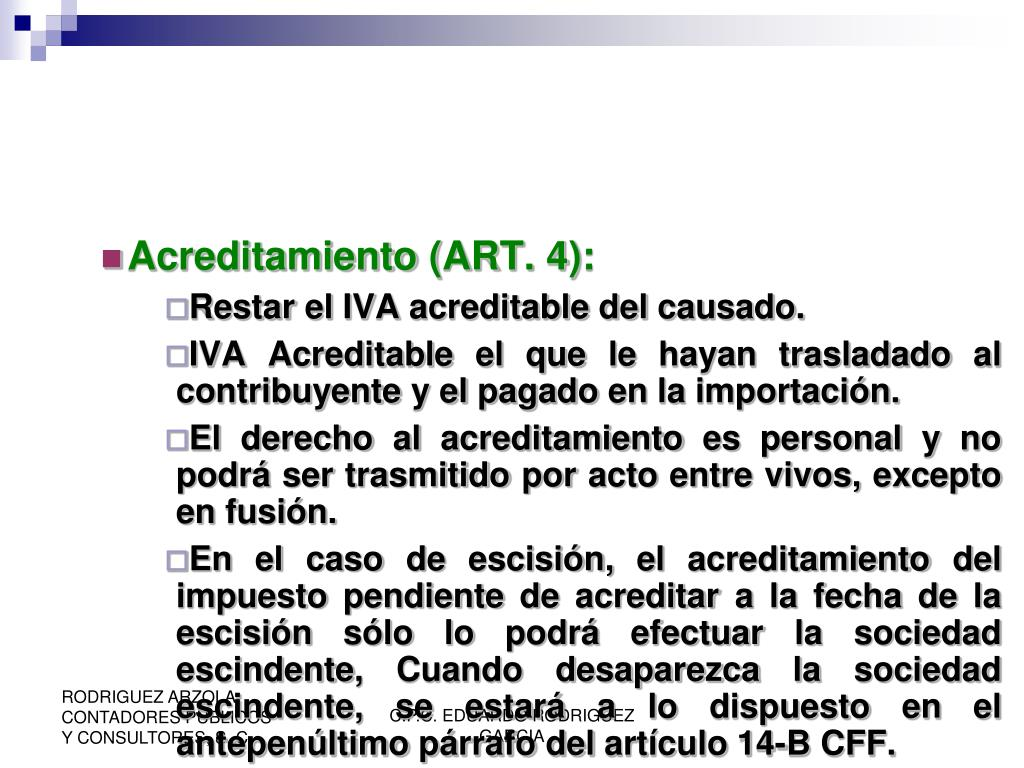Acreditamiento (ART. 4):