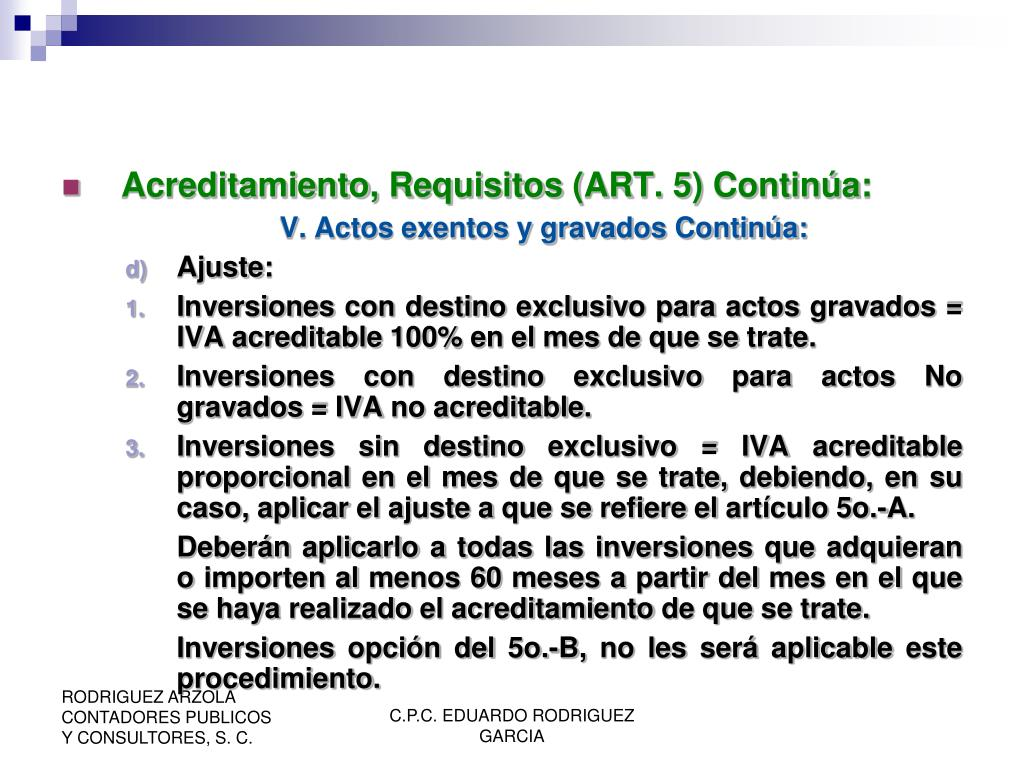 Acreditamiento, Requisitos (ART. 5) Continúa: