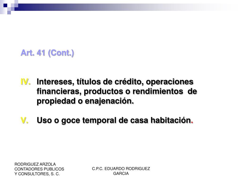Art. 41 (Cont.)