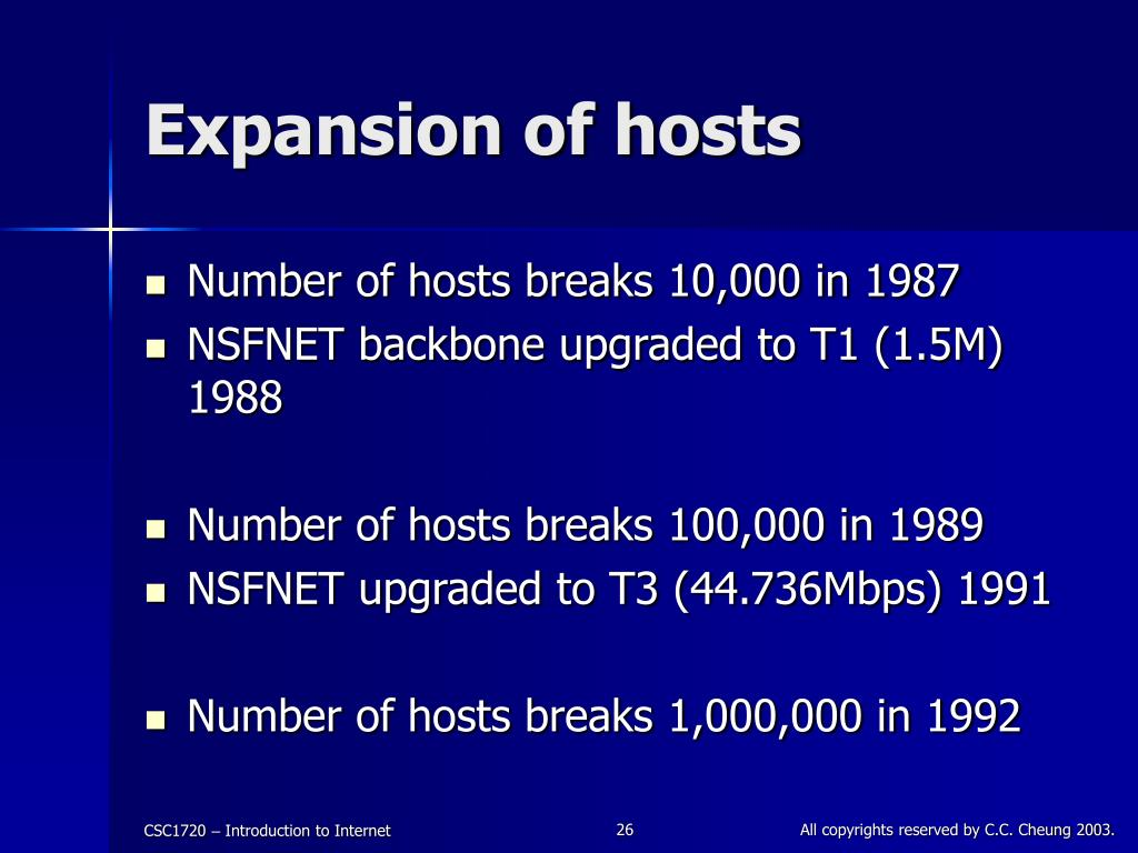 Expansion of hosts