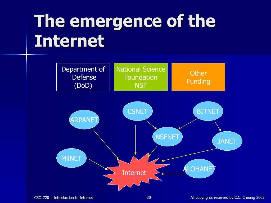 The emergence of the Internet
