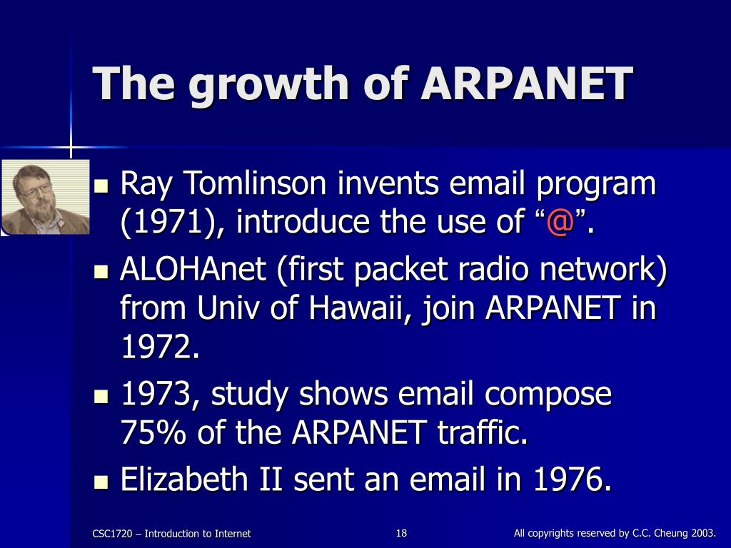 The growth of ARPANET