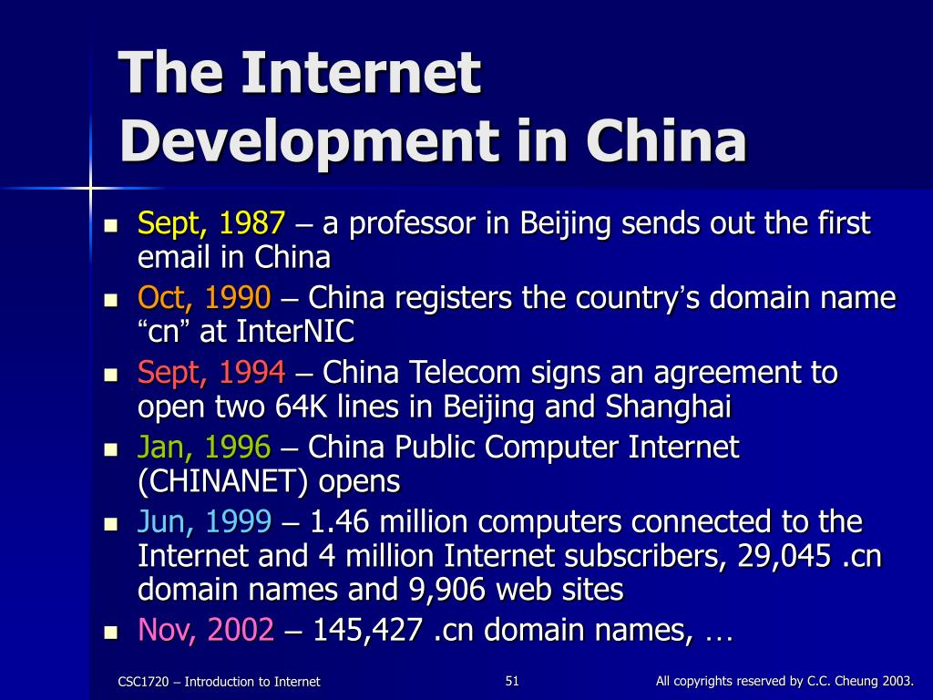 The Internet Development in China