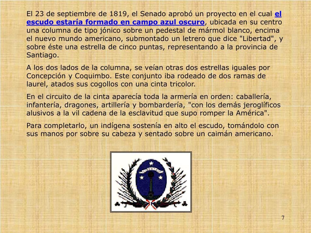 El 23 de septiembre de 1819, el Senado aprob un proyecto en el cual