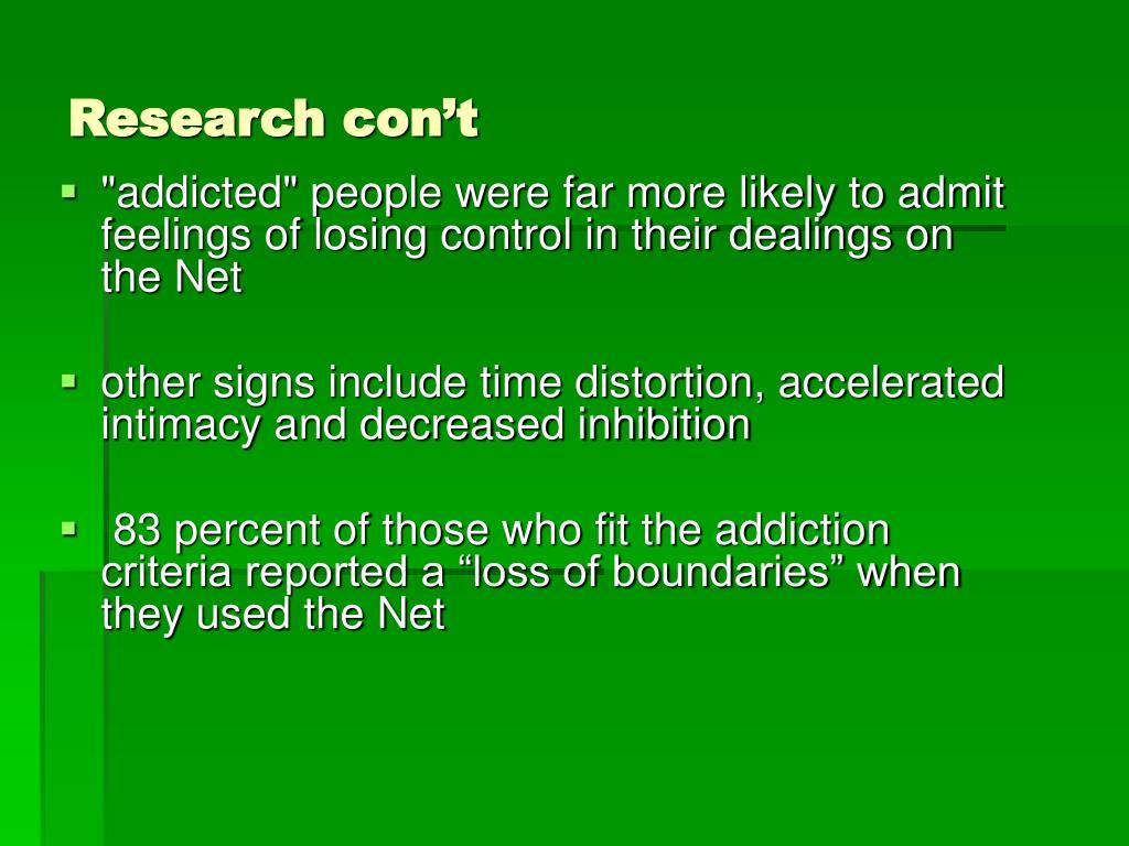 Research con't