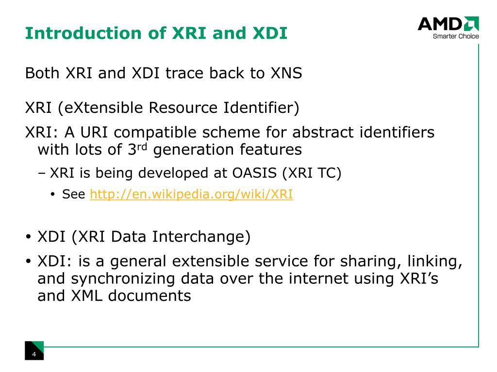 Introduction of XRI and XDI