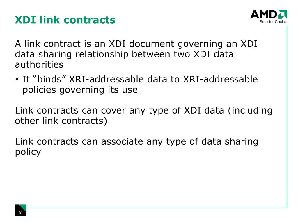 XDI link contracts