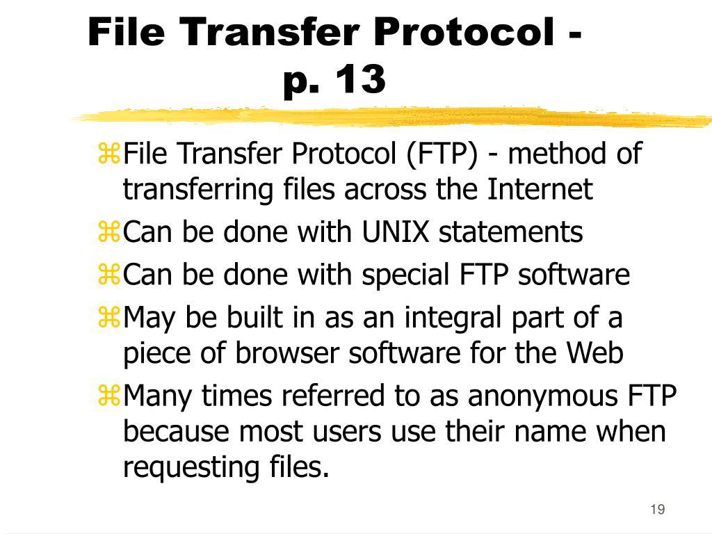 File Transfer Protocol -