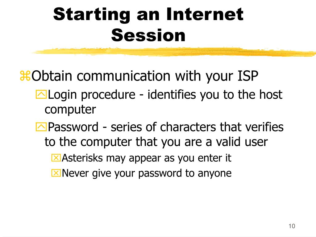 Starting an Internet Session