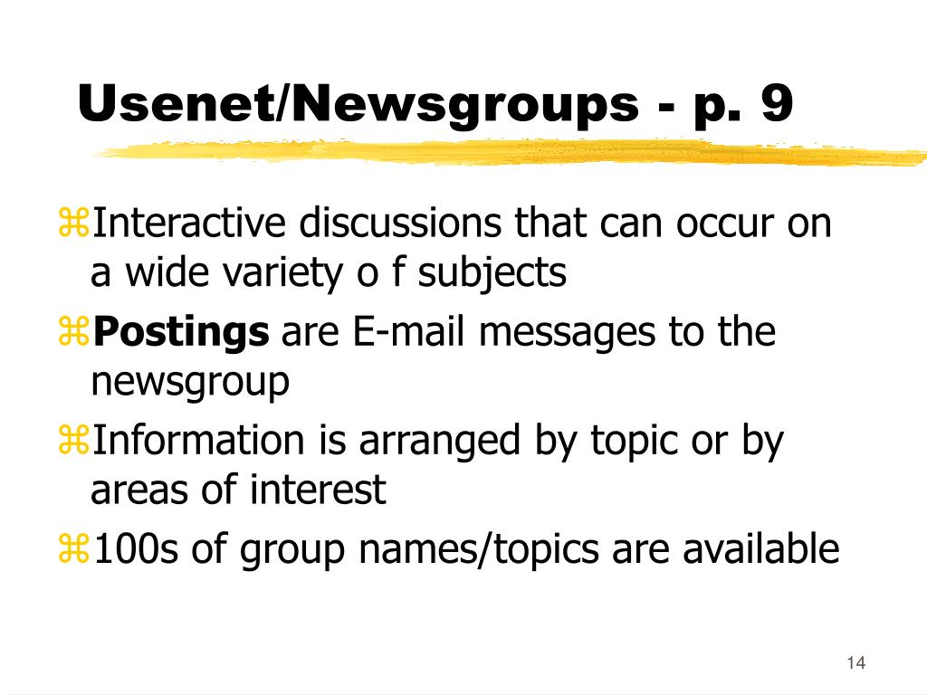 Usenet/Newsgroups - p. 9