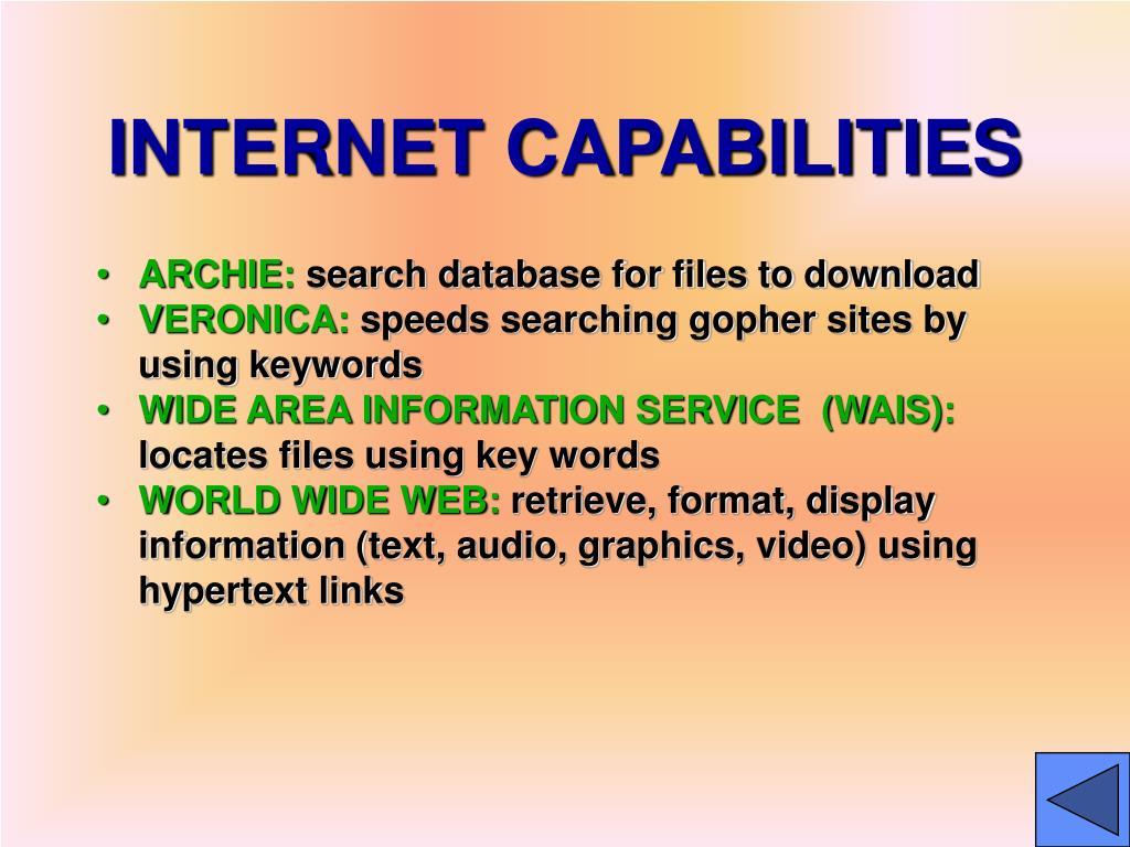 INTERNET CAPABILITIES