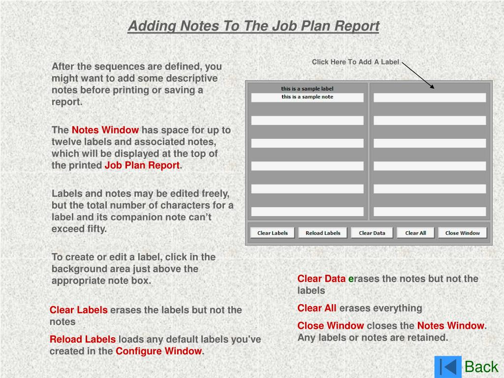 Adding Notes To The Job Plan Report