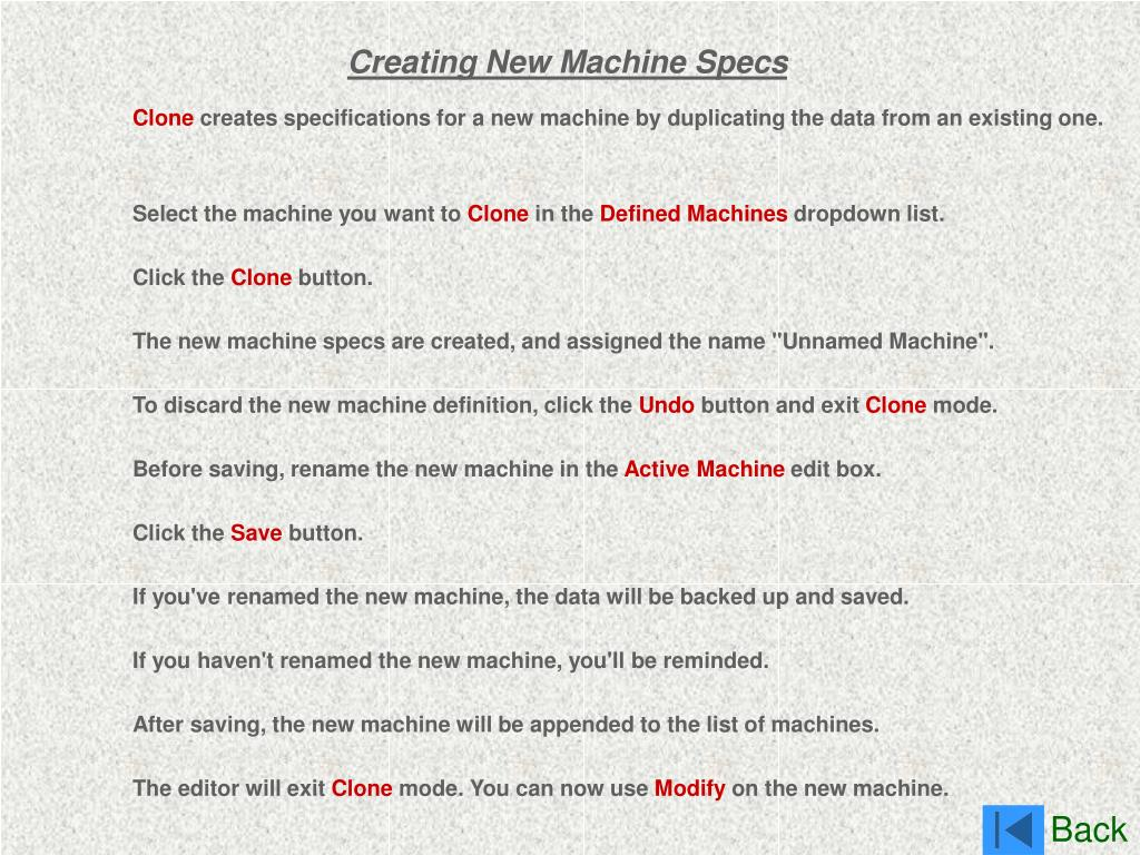 Creating New Machine Specs