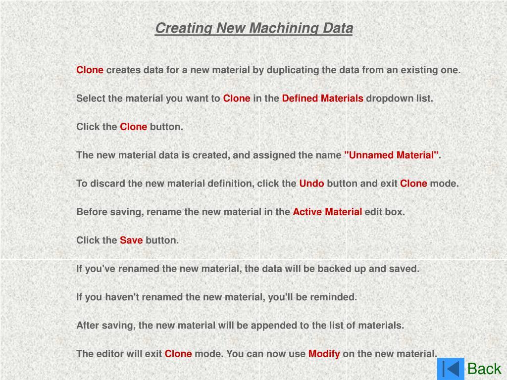 Creating New Machining Data