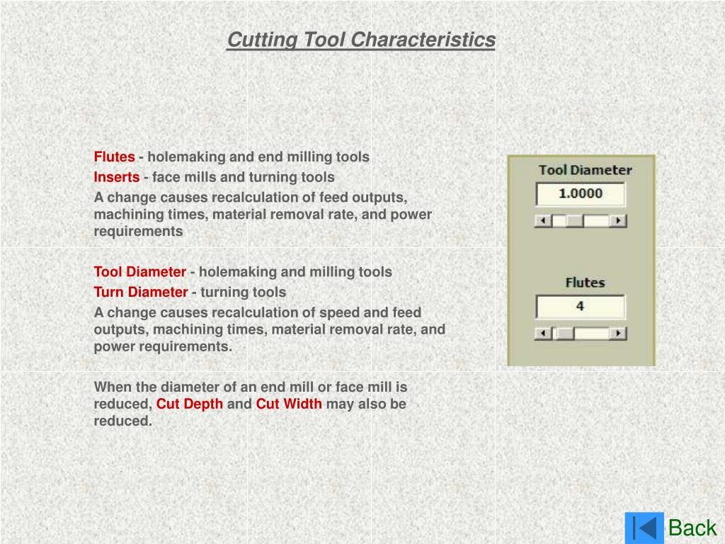 Cutting Tool Characteristics