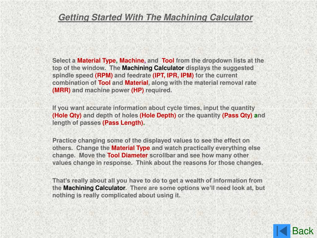 Getting Started With The Machining Calculator