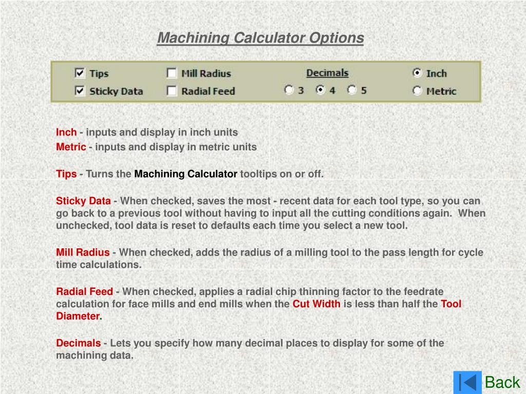 Machining Calculator Options