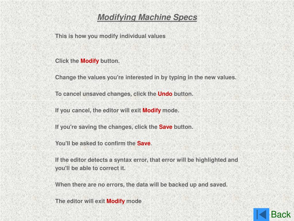 Modifying Machine Specs