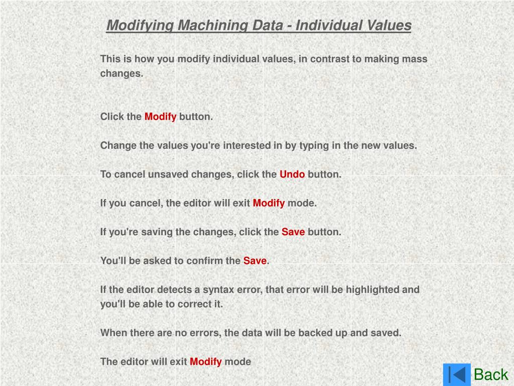 Modifying Machining Data - Individual Values
