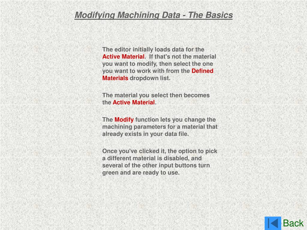 Modifying Machining Data - The Basics